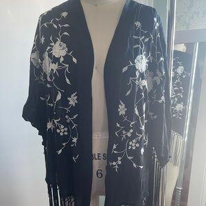 Abercrombie Floral Embroidered Fringe Kimono